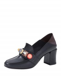 Fendi Rainbow Studded Mid Heel Loafer Pump Black