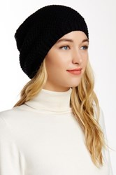 Leto Waffle Knit Slouch Beanie Black