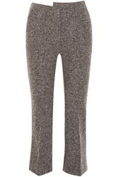 Atlein Cropped Wool Blend Tweed Bootcut Pants Anthracite