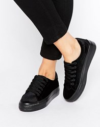 New Look Velvet Flatform Trainer Black