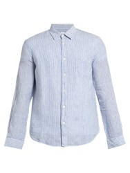 120 Lino Striped Linen Long Sleeved Shirt White Blue