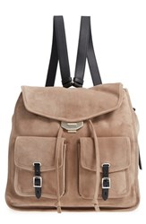 Rag And Bone Field Suede Leather Backpack Grey Warm Grey Suede