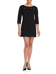 Carmen Marc Valvo Boatneck Elbow Length Dress Black