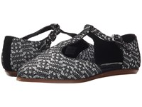 Toms Jutti T Strap Black White Tiles Suede Printed Women's Flat Shoes