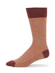 Saks Fifth Avenue Jaspe Chevron Pattern Crew Socks Burgundy