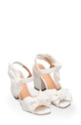 Bill Blass Women's Carmen Bow Sandal White Demin