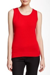Lafayette 148 New York Wool Blend Ribbed Trim Tank Red