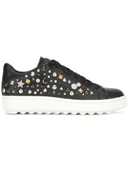 Coach Studded Lace Up Sneakers Black
