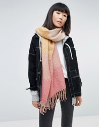 Pieces Striped Colourblock Scarf Rose Multi