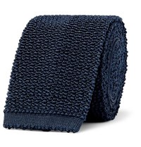 Dunhill 6Cm Knitted Mulberry Silk Tie Navy