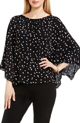 Vince Camuto Women's Kimono Sleeve Blouse Rich Black Animal Pop