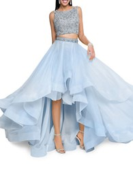 Glamour By Terani Couture Two Piece Embellished Prom Dress Set Powder Blue