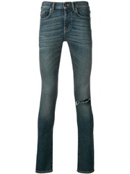 Saint Laurent Skinny Ripped Jeans Blue