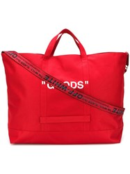 Off White Oversized Quote Bag Red