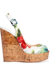 Christian Louboutin Une Plume 100 Printed Textured Glossed Leather Wedge Sandals White