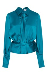 Carolina Herrera Long Sleeve Blouse Blue