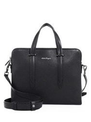 Salvatore Ferragamo Leather Messenger Bag Black