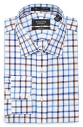 Nordstrom Men's Big And Tall Men's Shop Smartcare Tm Classic Fit Check Dress Shirt Brown Fawn