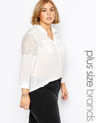 Brave Soul Plus Shirt With Lace Inserts Cream