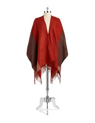 Echo Colorblocked Poncho Scarf Red