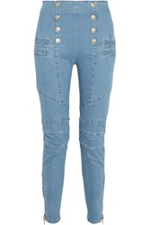 Balmain Pierre High Rise Skinny Jeans Light Blue