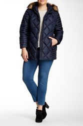 Andrew Marc New York Kami Quilted Faux Fur Hooded Jacket Plus Size Blue