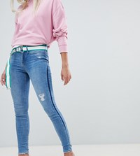 River Island Molly Skinny Jeans With Contrast Panel In Mid Wash Blue
