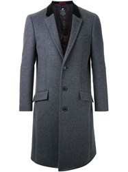 Loveless Contrast Collar Overcoat Grey