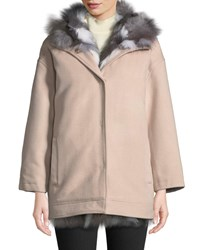 Belle Fare Detachable Fur Lined Hooded Wool Jacket Blush