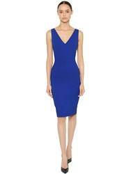 Antonio Berardi Stretch Cady V Neck Knee Length Dress Blue
