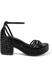 Pedro Garcia Dee Silk Satin And Woven Raffia Platform Sandals Black