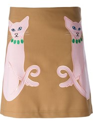 Vivetta Embroidered Cat A Line Skirt Brown