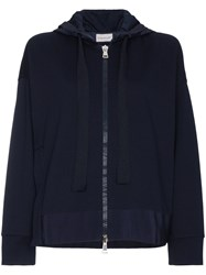 Moncler Logo Hoodie With Slit Blue