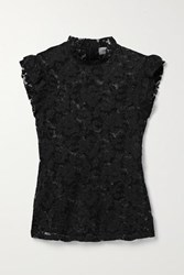 L'agence Kassia Ruffled Lace Top Black