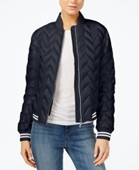 Armani Exchange Quilted Bomber Jacket Blue