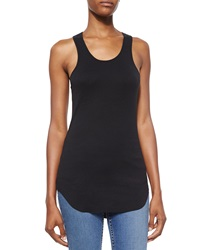 Helmut Lang Cotton Racerback Shirttail Tank Top