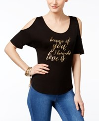 Thalia Sodi Mother's Day Cold Shoulder Graphic T Shirt Only At Macy's Deep Black