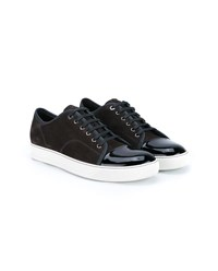 Lanvin Suede And Patent Leather Basket Sneakers Grey Black White Denim