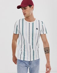 Tom Tailor T Shirt With Vertical Stripe In White