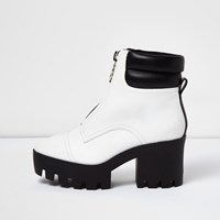 River Island Womens White Patent Zip Chunky Platform Boots