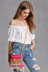 Forever 21 Abstract Woven Bucket Bag Fuchsia Multi