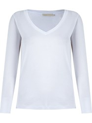 Giuliana Romanno Deep V Neck Longsleeved Blouse White