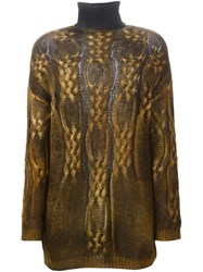 Avant Toi Cable Knit Sweater Brown