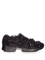 Simone Rocha Embellished Low Top Tweed Trainers Black