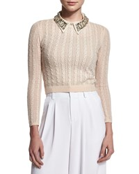 Alice Olivia Tamsin Cropped Cable Knit Sweater Tan