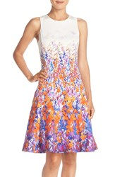 Women's Maggy London Floral Print Sateen Fit And Flare Dress Orange Multi