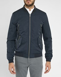 Ikks Navy Bomber Jacket With Zipped Leather Collar