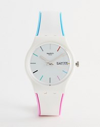 Swatch Gw708 Core Silicone Watch In White 34Mm