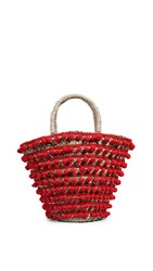 Mystique Pom Pom Tote Bag Red