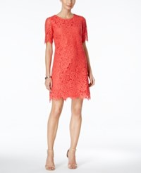 Jessica Howard Lace Elbow Sleeve Dress Coral